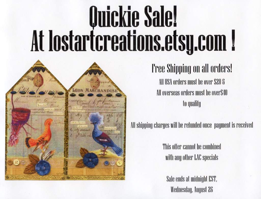 August 2009 Lost Art Creations Sale Flyer