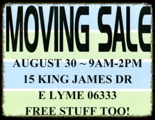 1 MOVING SALE SIGN