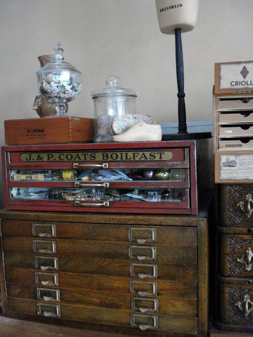 Thread Cabinet, Antique Tool Chest, Etc